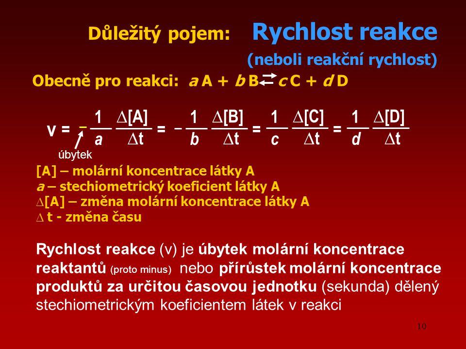 v Důležitý pojem: Rychlost reakce (neboli reakční rychlost) 1 ∆[A] 1
